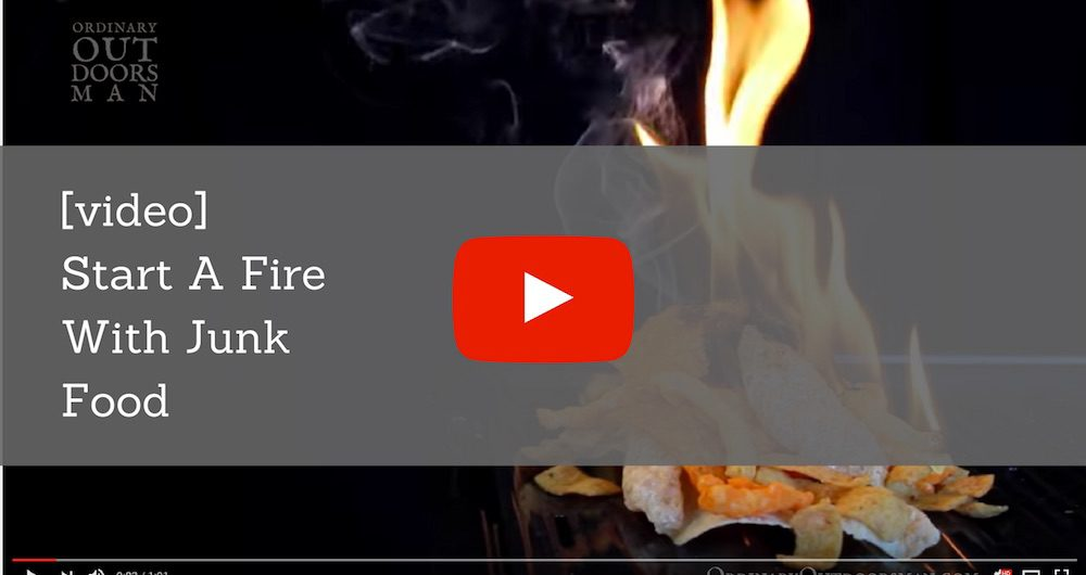 "video link with caption ""start a fire with your food"""