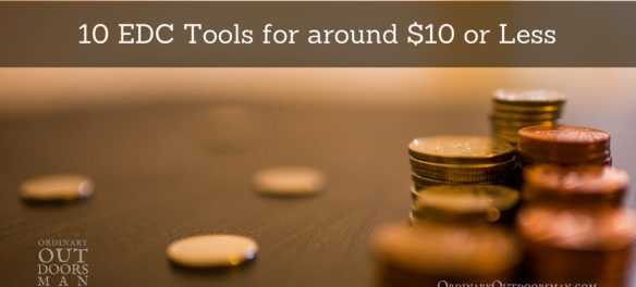 """image of coins with the title, """"10 EDC tools for around $10 or less"""""""