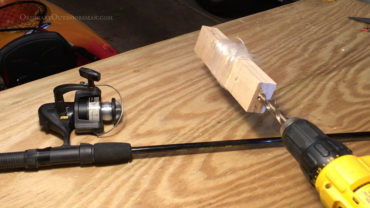 image of fishing reel and drill with the caption: How to strip your fishing reel with your drill